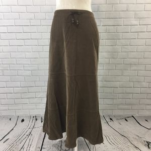 Dressbarn Brown Corduroy Gypsy Maxi Skirt